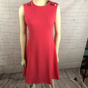Calvin Klein Coral Pink Tank Dress with Gold NWT 6